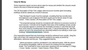 Molesworths Solicitor quoted in MoJ's response to Court Closure Consultation