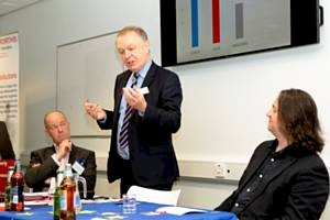 Paul Ormerod presenting his balanced view (centre) while Paul Hannah (left) and Dylan Leighton (right) take note Photo by Kerry & David Hargreaves Photography